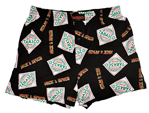 Tabasco Brand Men`s Sleep Boxer Shorts + Piggy Bank Gift Set (Black, X-large)