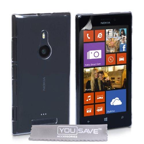 Custodia Nokia Lumia 925 Cover Duro Rigida Ibrido Cristallo Schiena Trasparente