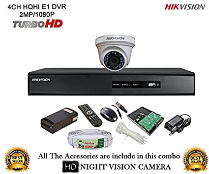 Hikvision DS-7204HQHI-E1 4CH Dvr, 1(DS-2CE56DOT-IR) Dome Camera (With Mouse, Remote,500GB HDD,Cable, Bnc&Dc Connectors,Power Supply)