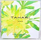 Tahari Luxury Cotton Blend Shower Curtain Printemps Aqua Turquoise Floral Branches (Yellow/Green)