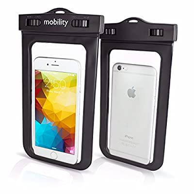 "Mobility® Universal Waterproof Phone Case - Best Water, Dust, Dirt, Dry Bag for Apple iPhone 6, 6s, 6 Plus, 6s Plus, 5, Samsung Galaxy S7, S6, LG G4, Nexus 6P. Fits Screens Up to 6.5"" Diagonal - Black from Mobility"