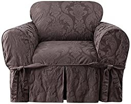 Sure Fit Matelasse Damask 1-Piece - Chair Slipcover  - Espresso (SF40551)