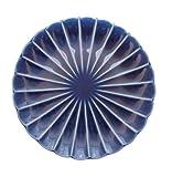 小兵さんちの食卓・ぎやまん陶 菊形14.5cm取皿 茄子紺ブルー