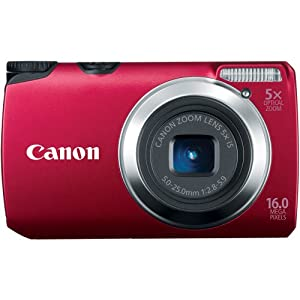 Canon Powershot A3300 IS 16 MP Digital Camera with 5x Optical Zoom (Red)