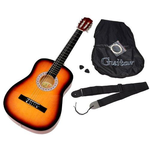 ts - Chitarra acustica con kit per principianti contenente custodia, corde di ricambio e tracolla, colore: sunburst