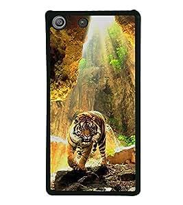 Fuson Premium 2D Back Case Cover Lovely tiger With yellow Background Degined For Sony Xperia M5 Dual E5633 E5643 E5663:: Sony Xperia M5 E5603 E5606 E5653