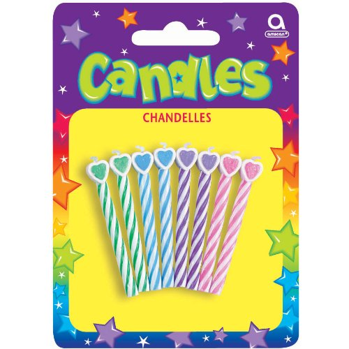 "Amscan Lovely Heart Tipped Spiral Birthday Candles, Green/Blue/Purple/Pink, 2.5"" - 1"