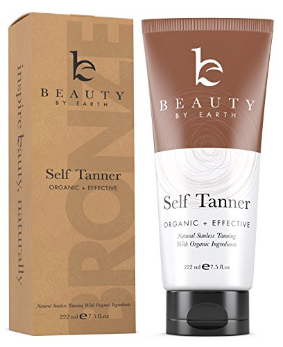 Self Tanner - Organic & Natural Sunless Tanning Lotion for Best Bronzer and Golden Tan - Dye-Free Alternative to Spray For All Skin Types, Light, Fair, Medium, Dark and Sensitive. Made in the USA