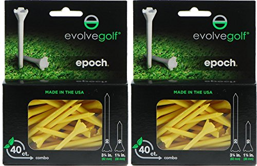 Epoch Twin Pack Super Saver 80 Count Combo 3.25 Inches & 1.5 Inches YELLOW Golf Tees