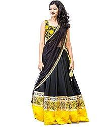 Fashion Galleria Women's Black Yellow Net Lehenga