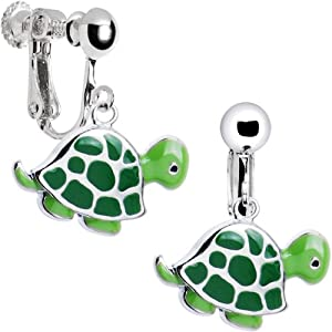 stainless steel turtle clip earrings clip on earrings for kids jewelry. Black Bedroom Furniture Sets. Home Design Ideas