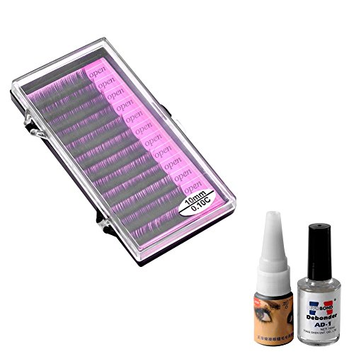 Ayliss - 12 Bandes Faux Cils Individuel Volumineux Longue Eyelashes Extension + Kit Outil Faux Cils Colle Gel Potion Cils Demaquillage 10mm
