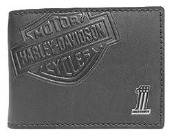 Harley-Davidson Mens Embossed Bar & Shield Cash Clip Wallet, Black CR2375L-BLACK
