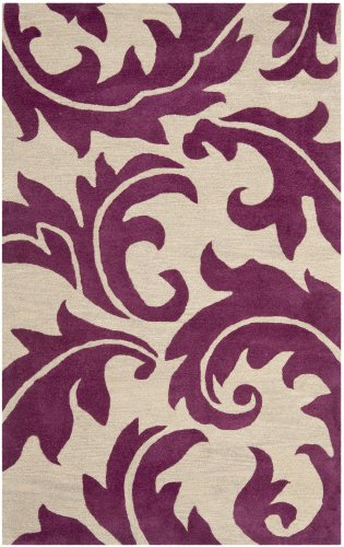 Safavieh Soho Collection SOH841B Handmade Purple and Beige Wool Area Rug, 2 feet by 3 feet (2' x 3')