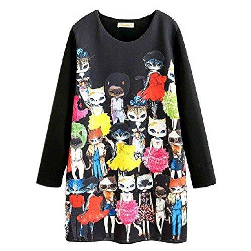 Aokdis Cartoon Character Cat Print Long Sleeve Dress Women Cute Winter Dress (L)