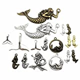 100g (about 36-40pcs) Mixed Antique Silver Antique Bronze Ocean Sealife Mermaid Charms Pendants for Bracelet Necklace Jewelry Making Findings M52 (Color: Mermaid Charms 2)