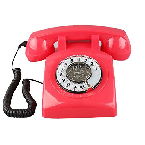 TelPal Corded Vintage classic style Retro Rotary Dial Office telepone 1960 Old Fashioned- Red (1960 Old Rotary Dial Telephones compare prices)