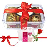 Valentine Chocholik's Luxury Chocolates - Best Combination Of Wrapped Truffles With Love Card And Rose