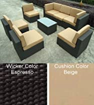 Hot Sale 8pc All Weather Wicker Patio Furniture Seating Group with Ottomans