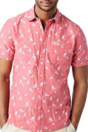 North Coast Pure Cotton Boat Print Slim Fit Shirt [T25-4370N-S]