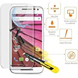BigZee(TM) 2.5 D Curved Edge 9H Hardness Ultra Thin Tempered Glass Screen Protector For Motorola Moto G (2nd Gen)