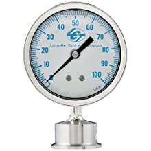 "Lumenite LSPG-LM-F-C1-1/2""-100PSI Glycerine Filled Sanitary Pressure Gauge, Lower Mount, 0-100 psi, Analog Display, +/- 1% Accuracy, 1-1/2"" Tri-clamp"