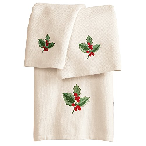 Christmas Holly Leaves Towels- Set of 3