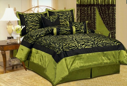 Beautiful 7 Pc Green & Black Zebra Print With Flocking Texture, King Size Bedding Set front-751340