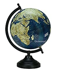 Globeskart Blue Ocean Rotating Desktop World Globe / Antique Globe/ Gift Item/ 8 inches / Blue Cream Texture