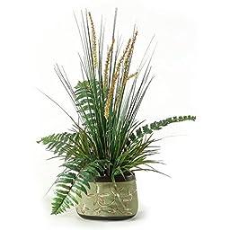 D&W Silks Onion Grass And Fern In Oblong Ceramic Planter by D&W Silks
