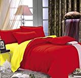Dexim Exclusive Solid Poly Satin 4 Piece Bedding Set With Reversible Duvet Cover (Red/Yellow)