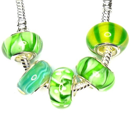 Charm Buddy 5 x Green Glass Bead Set with Silver Plated Cores, Fits Pandora/Troll /Chamilia Bracelets #st93