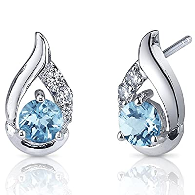 Revoni Radiant Teardrop Round Cut Gemstone with CZ Diamond Earrings in Sterling Silver