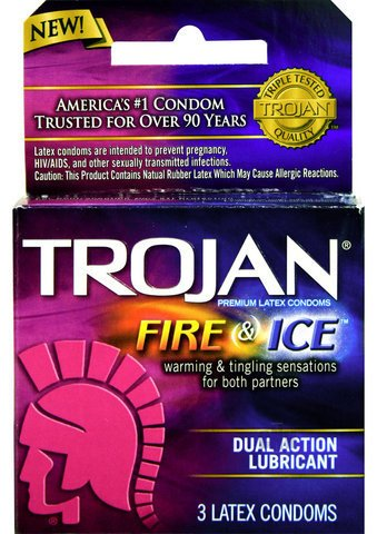 Gift Set Of Anal Plug (Purple Jelly) And one package of Trojan Fire and Ice 3 condoms total in package anal jewelry plug