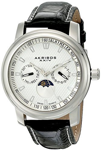 Akribos-XXIV-Mens-AK573SS-Ultimate-Swiss-Quartz-Stainless-Steel-Black-Leather-Watch