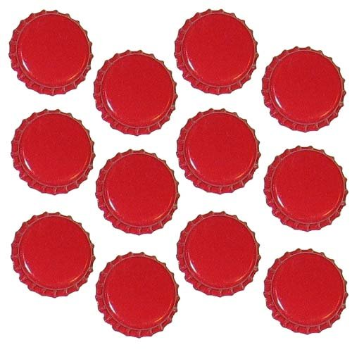 Red New Crown Bottle Caps For Crafts, Scrapbooking, Jewelry (50 Pc)