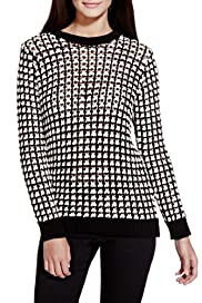 Limited Edition Cotton Rich Checkered & Open Knit Jumper [T69-2916J-S]