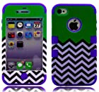 myLife (TM) Purple and Green - Flat Color and Chevron Series (3 Piece Protective) Hard and Soft Case for the iPhone 4/4S (4G) 4th Generation Touch Phone (Fitted Front and Back Solid Cover Case + Internal Silicone Gel Rubberized Tough Armor Skin + Lifetime Warranty + Sealed Inside myLife Authorized Packaging) ADDITIONAL DETAILS: This three layer iphone 4 armor skin gel fit together case is made of grip easy smooth silicone and hardshell plates that slide in to your pocket easily yet won't slip out of your hand