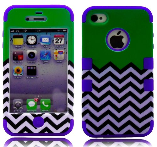 Mylife (Tm) Purple And Green - Flat Color And Chevron Series (3 Piece Protective) Hard And Soft Case For The Iphone 4/4S (4G) 4Th Generation Touch Phone (Fitted Front And Back Solid Cover Case + Internal Silicone Gel Rubberized Tough Armor Skin + Lifetime