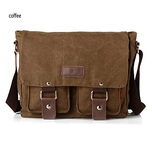 adams Cotton Canvas Men's Bag Genuine Leather Laptop Messenger Bag, Briefcase V2101 Coffee