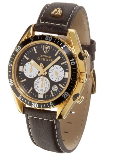 Detomaso Genova Gold Plated Stainless Steel Black Men's Quartz Watch with Black Dial Analogue Display and Brown Leather Strap SL1592C-BK-G
