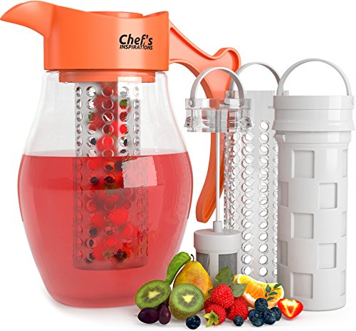 Chef's INSPIRATIONS 3 in 1 Infusion Water Pitcher. 3 Quart (2.8 Liters). Best For Flavored Infused Tea, Fruit or Herbs. Includes 3 Inserts for Fruit, Tea and Ice. Bonus Infuser Recipe eBook (Infusion Water Jug With compare prices)