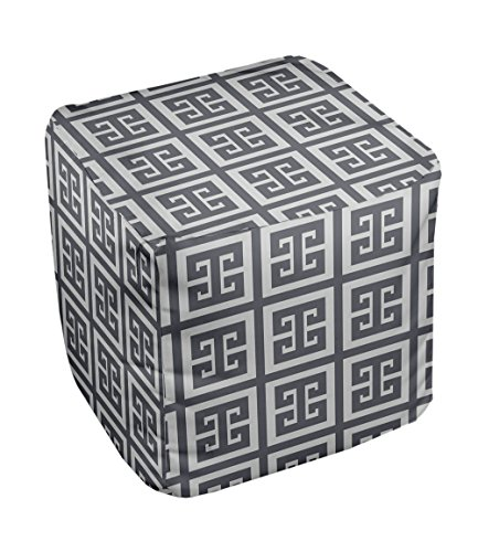 E by design Geometric Pouf, 13-Inch, Paloma Steel Gray
