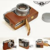 Tan Handmade Genuine Camera Half Leather Case Bag Cover for Fuji X20 (Bottom Open-able)