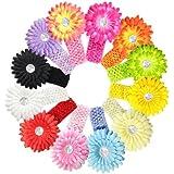 Kella Milla Daisy Flower Hair Clips With Soft Stretchy Crochet Baby Headbands set of 12