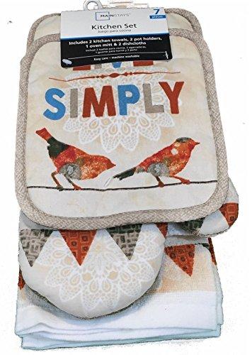 Red Bird 7 Piece Kitchen Towel and Pot Holder Set