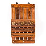 Rusticity Wooden Letter Rack - 10 in x 6 in - Wall Mounted Entryway Organizer for Books, Mail, Newspapers, Magazines, etc with 3 Key Hooks - Handmade from Indian Rosewood