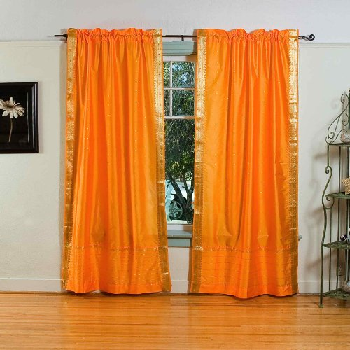 Pumpkin 84-inch Rod Pocket Sheer Sari Curtain