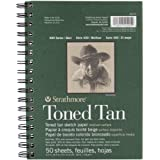 """Strathmore Spiral Toned Sketch Book 5.5""""X8.5""""-Tan 50 Sheets"""