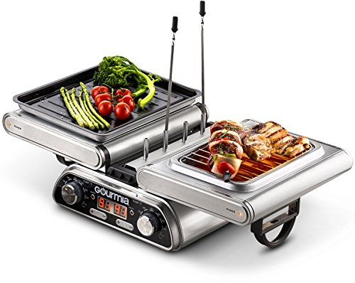 Gourmia GDG1900 Digital Dual Indoor Grill, Folds for Double Sided Steak Grilling, 10 in 1 Grill & Cook System, Expanded Accessory Kit Includes Grilling Basket, Kebab Rack & More, Free Recipe Book